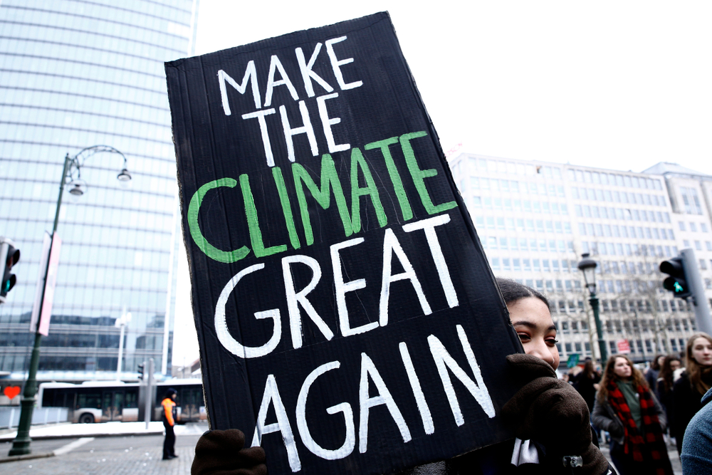 """Protest sign that reads """"Make the climate great again"""""""