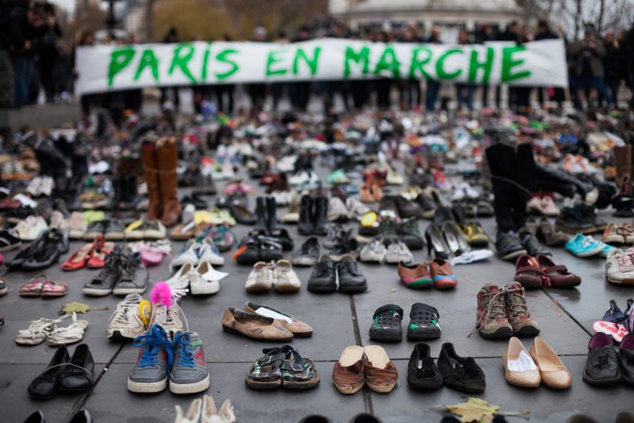 Shoes at protest for Paris Agreement